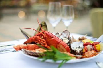Seafood lobster on table