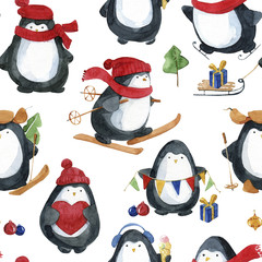 Seamless watercolor pattern.Cute little penguins preparing for Christmas.