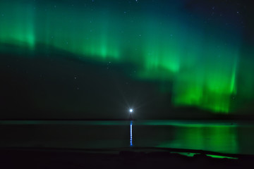 Название: Landscape with Aurora Borealis over the Ladoga Lake and a lighthouse