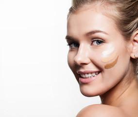 Girl with facial creams 3 shades