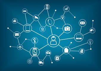 Internet of things (IoT) and networking concept for connected devices.