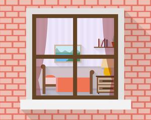 Bedroom through the window.