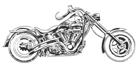 Vector bikers. Hand drawing vector motorcycle with bike elements