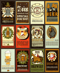 Beer labels set. Beer labels set  design contains images of beer mug,beer glass, brewery,anchor,ribbon,helmet,beer bottles, griffin and  escutcheons.Vintage style.