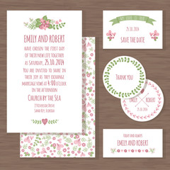 Set of wedding cards with flowers