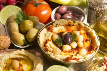 Hummus and falafel meal