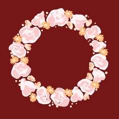 Vector wreath with flowers