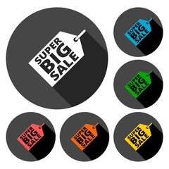Super Big Sale icons set with long shadow