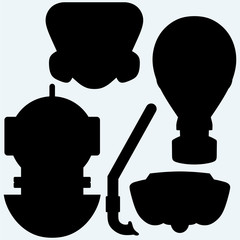 Set of different masks. Isolated on blue background. Vector silhouettes