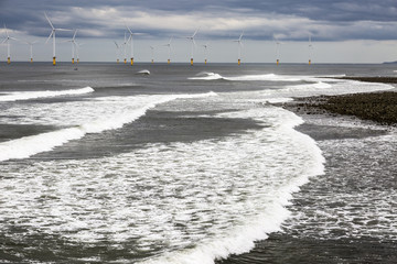 Teesside shore with wind turbines