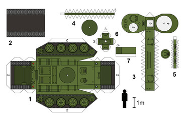 Paper model of an old tank, not a real type, vector illustration