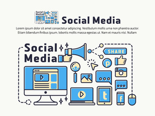 Social Media and Network Marketing. Icons and symbols for web header, banner, page cover, printing media. Vector illustration