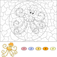 Color by number educational game for kids. Funny cartoon octopus