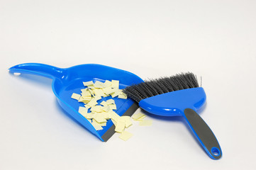 broom and bustpan on white background