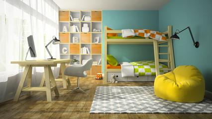 Interior of children room with bunk bed 3D rendering