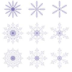 Set of fabulous snowflakes. 9 beautiful symbols.