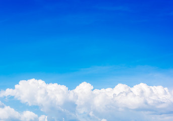 White clound in the blue sky.Space on top side