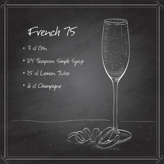 Cocktail French 75 on black board