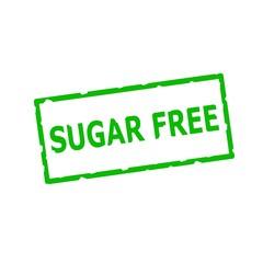 sugar free Green stamp text on Rectangular white background