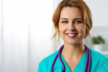 Beautiful charming friendly smiling female medicine therapeutist