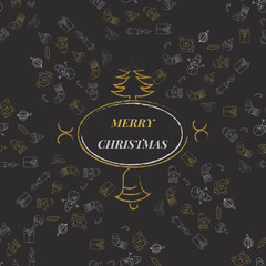 Merry Christmas Background with Typography  Lettering Greeting c
