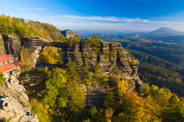 Pravcicka Gate in autumn colors, Bohemian Saxon Switzerland, Czech Republic