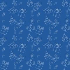 Seamless blue vector pattern Christmas eps10