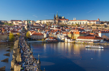 Beautiful view on Prague Castle and Charles Bridge, Prague, Czech Republic