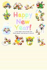 New Year's card of pretty monkeys