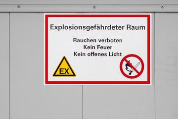 Schild Explosionsgefahr