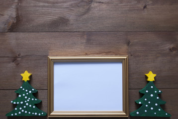 Picture Frame With Christmas Tree And Copy Space