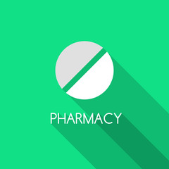 Pharmacy design. Pill on green background and Pharmacy text. Vector pill illustration. Flat style vector design with pill. Medical and pharmaceutical theme.