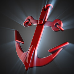 metallic anchor on gray background
