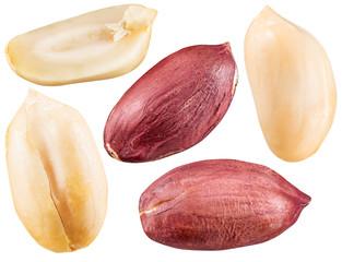 Peeled and opened peanuts.