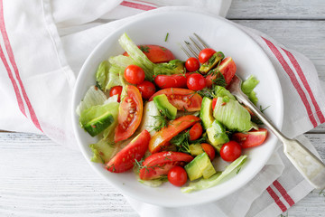 fresh salad with avocado