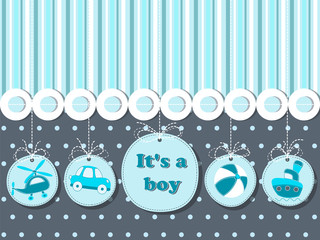 It's a boy - card for invitation, greeting, shower with   helicopter, car, steamship, ball