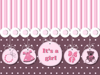 It's a girl - card for invitation, greeting, shower with dress, decoration, ribbon, teddy bear