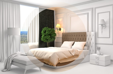 Bedroom interior with CAD wireframe mesh. 3D Illustration