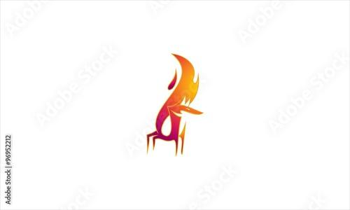 Fox Tail Fire Logo Vector