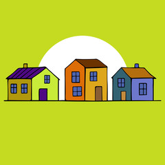 Card with colorful houses. Vector image.