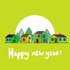 New year card with houses. Vector image.