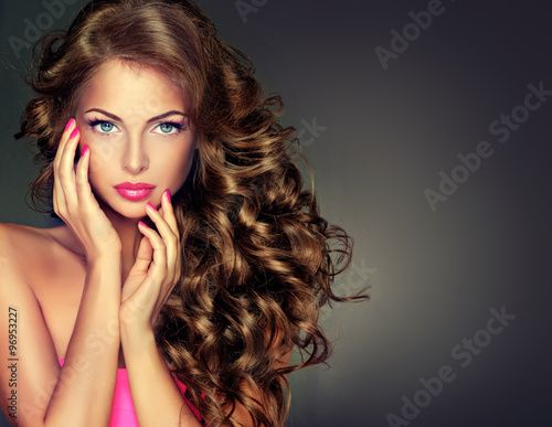 "Hair Style Upload Photo: ""Beautiful Model Brunette With Long Curled Hair"