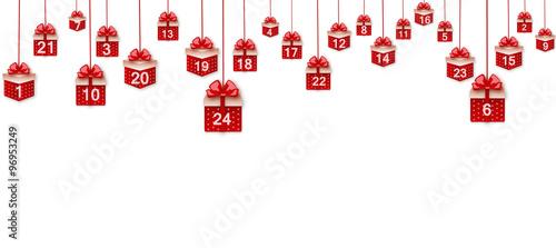 Geschenke Weihnachtskalender.Vektor Adventskalender Hängende Geschenke Stock Image And