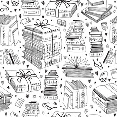 vector hand drawn seamless pattern with books