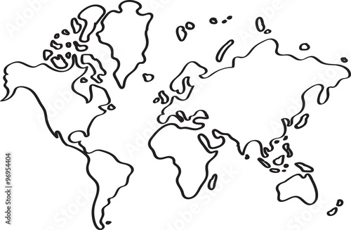 freehand world map sketch on white background