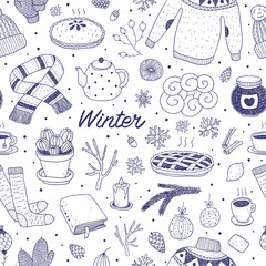 hand drawn vector winter seamless pattern