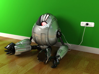 Robot charging himself with electric plug after out of energy and eyes turning red, image represents low energy, low power, recharging concept
