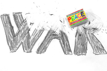 Eraser with flag PEACE deletes the black written WAR