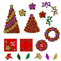 Collection of Christmas images. Christmas drawings. You can create your own Christmas card of the added components. Star, Christmas flower, tree, mistletoe, leaves, berries.