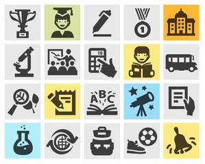 school, education set black icons. signs and symbols